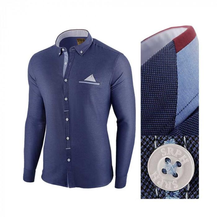 Camasa pentru barbati, bleumarin, slim fit - Leon Classic
