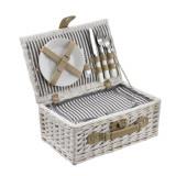 [casa.pro]® Cos picnic 2 persoane, 38 x 25 x 16 cm, rachita/poliuretan-imitatie piele/textil, alb HausGarden Leisure