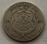 50 Bani 1881 Argint, Romania, F, RARA!