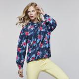 Jacheta anti-vant cu gluga print floral pentru dama, L/XL, S/M, XXL, XXXL, Bleumarin, Grena, Verde