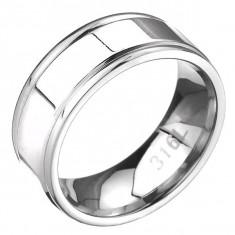 Inel din oțel - bandă cu două tăietur pe margini, plat - Marime inel: 67