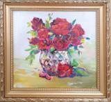 Tablou Trandafiri rosii in vas de sticla
