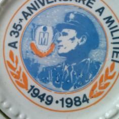 Decoratie ceramica portelanata : A35 a aniversare a militiei 1949-1984