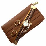 Cumpara ieftin Pachet portofel elegant de dama cu fermoar maro + ceas maro cu inchizatoare tip bratara