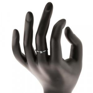 Inel din aur alb 585 - zirconiu strălucitor și transparent într-o montură în patru puncte - Marime inel: 52