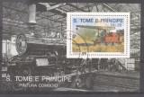 Sao Tome e Principe 1989 Trains, perf. sheet, used M.258