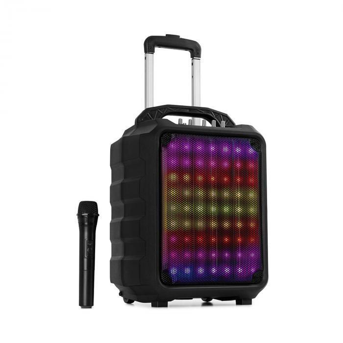"Auna Moving 80.1, sistem PA, 8"" woofer, LED-uri, 100 W, Micro-UHF, USB, SD, BT, AUX, mobil"