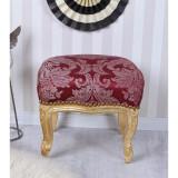 Scaunel din lemn masiv auriu cu tapiterie din matase rosie CAT689A05, Scaune, Baroc