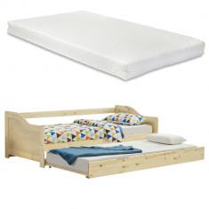 Canapea Perla cu pat suplimentar extensibil, culoarea lemnului