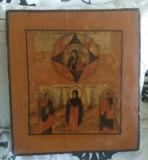 Cumpara ieftin Icoana rusa antica pictata pe lemn cu certificat de export sec 18