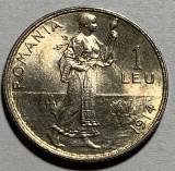 "1 Leu 1914 Hamburg, Argint, Romania, UNC, Luciu de batere, eroare ""fir"" intre RO"