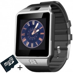 Smartwatch iUni DZ09 Plus, Camera 1.3MP, BT, 1.54 Inch, Argintiu + Card MicroSD 8GB Cadou
