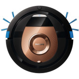 Aspirator robot SmartPro Compact FC8776/01, 0.3 l, 3 trepte, 4 moduri curatare, profil subtire, functie programare, negru