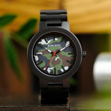 Cumpara ieftin Ceas din lemn Bobo Bird negru cu curea din lemn, R16