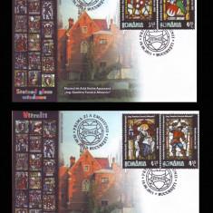 2011 Romania, 2 FDC Vitralii - Muzeul de arta veche LP 1910, plicuri prima zi