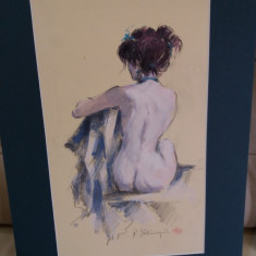 Lot Radu DARANGA, 6 nuduri,mixte, Nud, Guasa, Impresionism