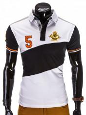 Tricou pentru barbati polo, alb, logo piept, slim fit, casual - S506 foto