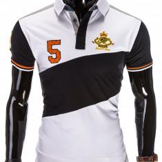 Tricou pentru barbati polo, alb, logo piept, slim fit, casual - S506