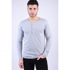 Bluza Selected Abel Split Neck Light Grey Melange