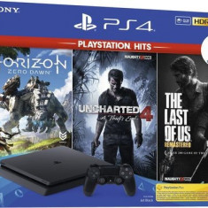Consola Sony PlayStation 4 Slim 1TB + Joc Horizon Zero Dawn + Uncharted 4 + The Last of Us Remastered (Negru)