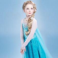 Rochie/rochita Elsa Frozen trena lunga+  accesorii petreceri tematice/aniversari