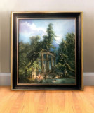 Baile de la ruine, tablou cu peisaj de vara Tablou inramat, tablou pictat manual