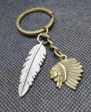 Breloc Indian + pana accesorii chei 2020 amerindieni trib bastinasi cadou unisex