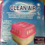 Dezumidificator CLEAN AIR absorbant de umiditate + 2 seturi granule reancarcabile cu parfum de lavanda