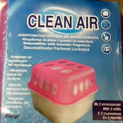 Dezumidificator CLEAN AIR absorbant de umiditate + 2 seturi granule reancarcabile cu parfum de lavanda foto
