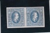 1865 LP 16 a  A. I. CUZA  EFIGIA IN OVAL PERECHE HARTIE VARGATA POICON L.PASCANU, Nestampilat