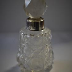 Sticla / Sticluta parfum veche - Cristal cu Argint Anglia Londra 1902