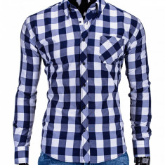 Camasa pentru barbati bleumarin in carouri mari slim fit casual elastica cu guler buzunar piept k282