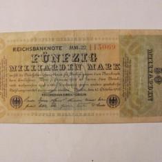 CY 50000000000 50 miliarde marci mark 10.10.1923 Reichsbanknote Germania unifata
