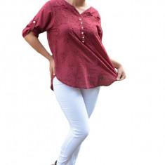 Bluza de vara tip camasa Jeniffer ,model cu broderie si paiete ,nuanta de marsala