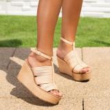 Sandale dama cu platforma bej Fridelia