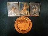 Lot 4 tablouri cu Brasov. Metaloplastie, realizata manual pe tabla de cupru