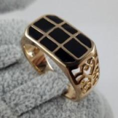Inel Barbati/Unisex Onyx,dublu placat aur 24K
