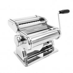 Masina de facut paste Zokura, 150 mm, otel, 9 grosimi, accesoriu inclus, Argintiu