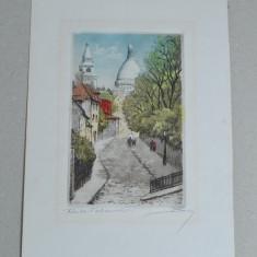 Sacre-Coeur gravura veche colorata manual