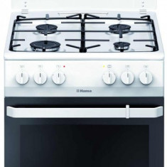 Aragaz mixt Hansa FCMW580009, cuptor electric, 50 cm, 4 arzatoare, 8 functii, grill, ventilator, aprindere electrica, siguranta, capac email, 62 L, cl