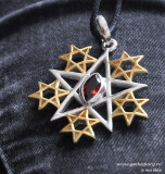 Talisman argint cu granat Pentagrama