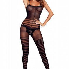 BS360-1 Bodystocking cu bretele subtiri si model in dungi, Marime universala
