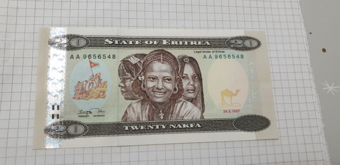 bancnota eritrea 20 n 1997