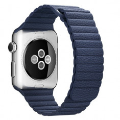 Curea piele pentru Apple Watch 40mm iUni Midnight Blue Leather Loop