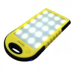 Baterie Externă cu Încărcare Solară, 6000 mAh, 2x USB, Lanternă 20 LED-uri