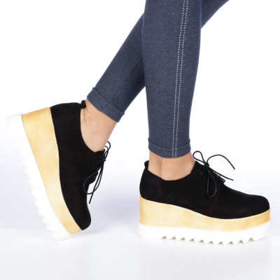 Pantofi dama cu platforma Devera 3 negri foto
