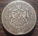 (A65) MONEDA DIN ARGINT ROMANIA - 5 LEI 1880, CAROL I