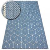 Covor sisal Flat 48721/591 Cuburi 3D albastru, 140x200 cm, Dreptunghi