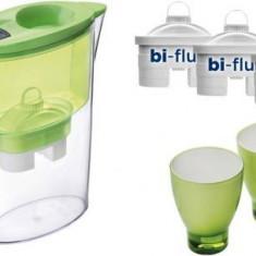 Cana filtrare apa Laica J947E Green + 3 filtre + 2 pahare colorate