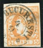 1869 , ROMANIA , Lp 25  , Carol I cu Fav.  5 Bani  - stampilat
